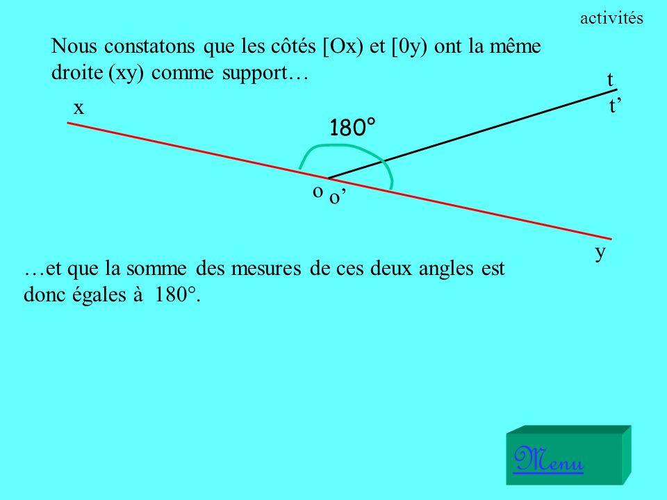 activités Nous constatons que les côtés [Ox) et [0y) ont la même droite (xy) comme support… t. x.